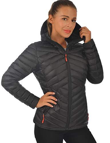 Lesmart Women's Down Jackets Hooded Packable Lightweight Winter Warm Puffer Down Coat Ladies Casual Outwear Black XL