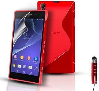 Telefonskydd – S-Line silikongel fodral fodral fodral för Sony Xperia Z2 D6503 och skärmskydd – röd
