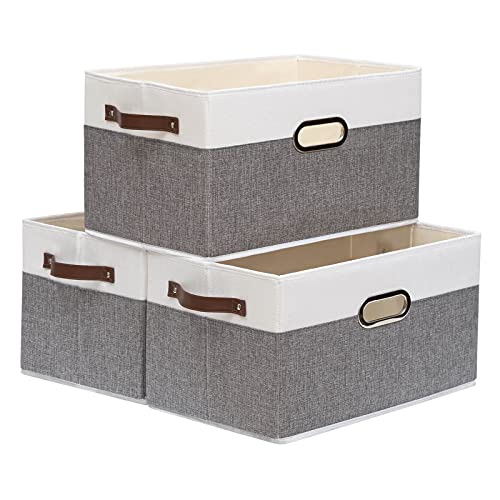 Yawinhe 3 PCS Cajas de almacenaje, Cubos de almacenaje sin tapa, Cajas de Almacenamiento Plegables, Organizador para Juguetes, Libros, Ropa (Gris/Blanco, 38x25x21cm)