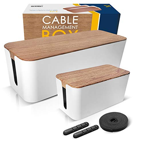 Cable Management Box Set Organizer Large and Medium Black Boxes Including 5 Cable Ties ABS High Grade Plastic with Rubber Anti-Slip Pads Set of 2 Boxes Within Each Unit 1 Cable Sleeve Bundle