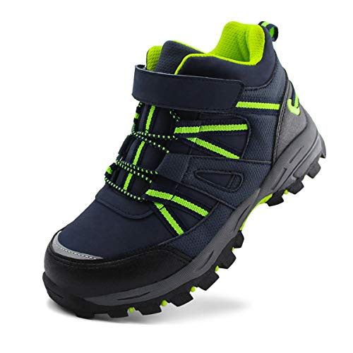 brooman Kids Waterproof Hiking Boots Boys Girls Outdoor Adventure Shoes (13,Navy/Green)