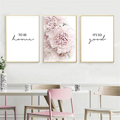 DOLUDO Bilder Set Rosa Pfingstrose Blumenposter 3 Stück Wandkunst Leinwanddruck Gemälde Blumen Wandkunst Bild Poster für Wohnzimmer Dekoration 50x70cm (Kein Rahmen)