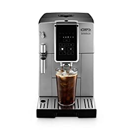De'Longhi Dinamica ECAM35025SB TrueBrew Over Ice™ Fully Automatic Coffee and Espresso Machine, with Premium Adjustable… 7 The first and only fully automatic coffee machine with De'Longhi TrueBrew Over Ice Coffee technology. The True Brew Process Delivers Smooth, Full-Bodied Iced Coffee: Dinamica with De'Longhi TrueBrew Over Ice feature is the first and only Fully Automatic Coffee and Espresso Machine with iced coffee recipe. By brewing at a lower temperature, pre-infusing & infusing the coffee and offering the ability to customize to extra strong, De'Longhi TrueBrew Over Ice brews smooth, full-bodied coffee over ice that is never watered down. Heat-up time in less than 40 seconds: With Italian 15 bar high performance pump and a brew unit that takes only 40 seconds to heat up, you can have coffee shop quality coffee beverages with the push of a button.