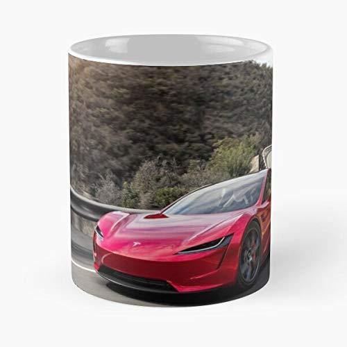 Taza de café de cerámica de 3 modelos 2022 Tesla Motors The Newest Elon Roadster Road On Best de 11 onzas