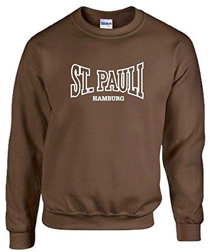 World-of-Shirt Herren Sweatshirt St. Pauli Hamburg Ultras Fan Pullibraun-M