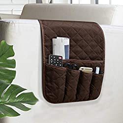 powerful VNOM Sofa Organizer Armrest Non-Slip Armrest Bedside Drawer Organizer Sofa Chair TV Remote Control Magazine with 5 Mobile Phone Pockets (Coffee)
