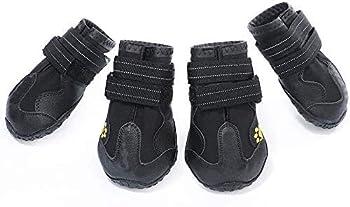 AILOVA Chaussons Pattes pour Chien Antidérapant, Bottes Chaussures De Protection Coussinets Chien en Cuir PU Imperméable pour Sol Marche Sports en Plein Air De Chiots Chiennes (XXS,Noir)