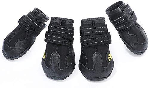 AILOVA Hundeschuhe, 4er-Set Stoff PU-Leder wasserdicht Schützen Sie Schuhe für Hunde Outdoor-Sport Nicht zu verletzen (XXL,Schwarz)