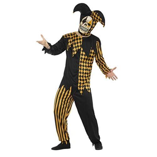 Smiffys Costume giullare di corte malvagio, Nero e Oro, con top, pantaloni, copricapo e