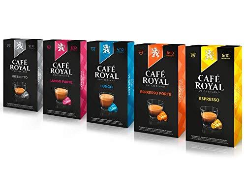 Café Royal Probierbox Classic - 50 Nespresso kompatible Kapseln, 5 Sorten - Espresso, Espresso Forte, Lungo, Lungo Classico, Ristretto (5 x 10 Kaffeekapseln)