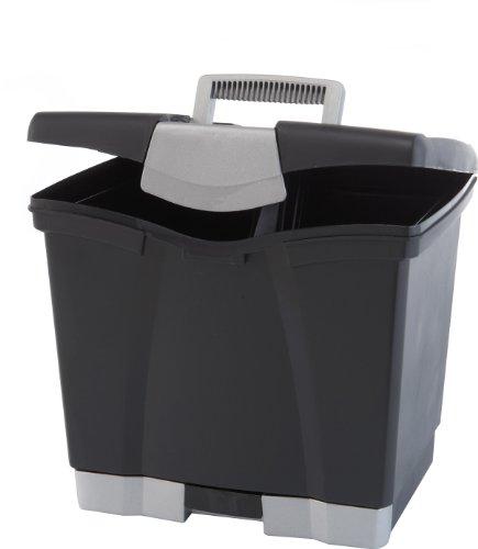 Storex Portable fichier Boîte de rangement avec tiroir, loquet Couvercle, Lettre Taille, Noir (61523u01 C)
