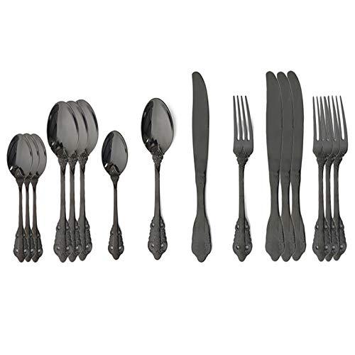 FDSJKD 16pcs Silver Silverware Set 304 Stet Cutlery Set de Acero Inoxidable Conjunto de Cubiertos Occidental Cuchillo DE Cuchilla Cuchilla Cuchilla DE Lujo VECTURA VINTAJE (Color : 16Pcs Black)