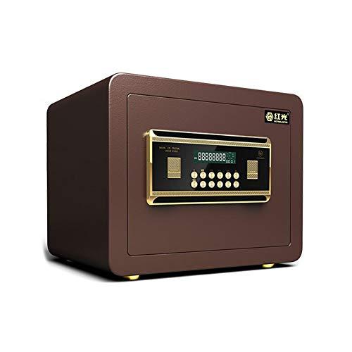 MUMA skåp digital säker låda, med LCD-skärmvägg/golvmonterad för smycken pengar dokument hem kontor hotell (färg: Brun, storlek: 35 x 25 cm x 25 cm)
