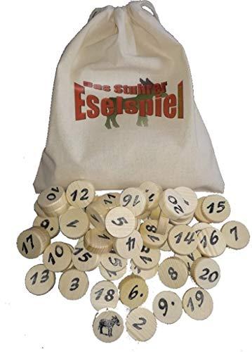 Prescher Das Stuhrer Eselspiel mit 61 Spielsteine für 2 - 4 Spieler mit 3 Stapeln, Familienspiel,Reisespiel