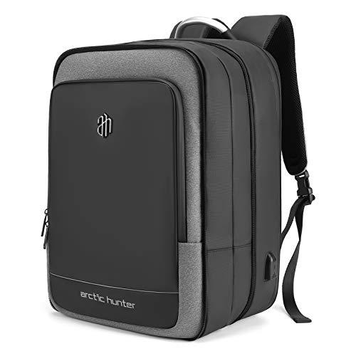 Leeofty, zaino da 40 l, grande capacità, per computer portatile, zaino espandibile da 40 cm, zaino da viaggio impermeabile con porta di ricarica USB, per lavoro, scuola, viaggi