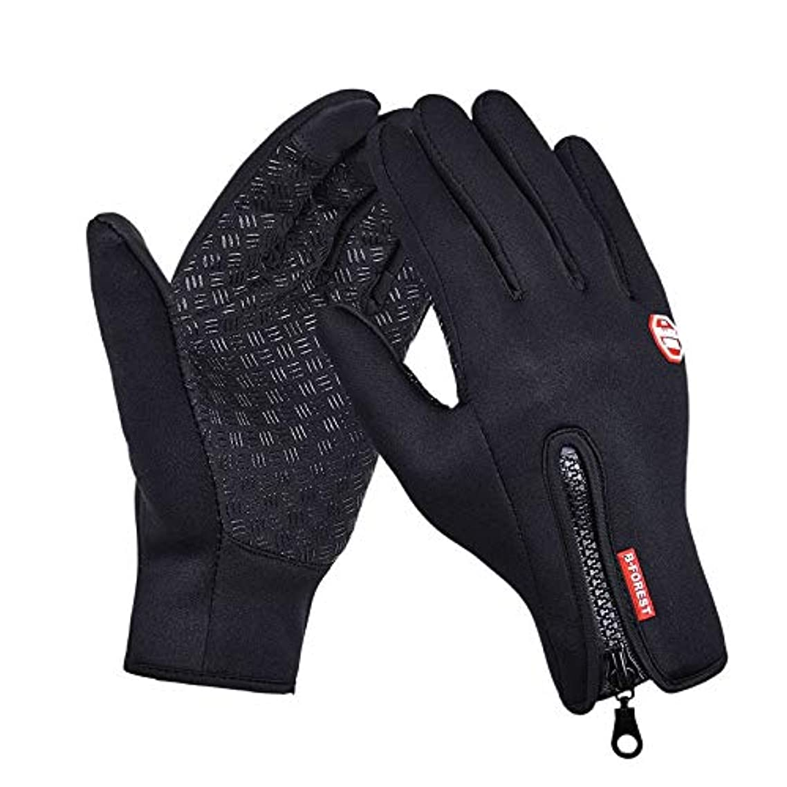 Outdoor Sports Hiking Winter Bicycle Bike Cycling Gloves For Men, Women Windstopper Simulated Leather Soft Warm Gloves - Black - Size S
