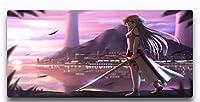 マウスパッド アニメソードアートオンライン高性能の滑らかな表面を備えたマウスパッド耐久性のあるステッチエッジ特殊なテクスチャのラバーベース300X800X3Mm大型ゲーミングマウスパッドコンピュータマウスマットを厚く-(E)