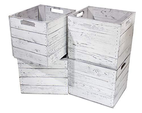 Obstkisten-online 4X KISTE für KALLAX - Vintage Design, in grau -NEU- Fachelement aus Holz für IKEA Regal - auch einzeln schöne Deko - 32x37,5x32,5cm