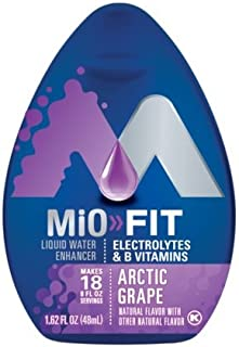 MiO Fit Water Enhancer - Arctic Grape, makes 18 servings + Vitamins, 1.62 oz each, (Pack of 5)