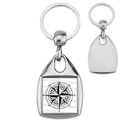 Porte Clés Carré Acier Compas Boussole 3 - Symbole Marin - Idée Cadeau