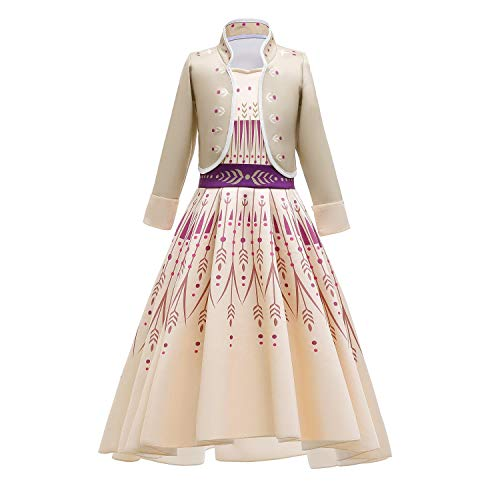 IWEMEK Nias Disfraz Princesa Anna Vestido Reino de Hielo Ice Queen Cosplay Traje de Carnaval Halloween Navidad Cumpleaos Fiesta Outfits Theme Fancy Dress 13 Amarillo 4-5 aos
