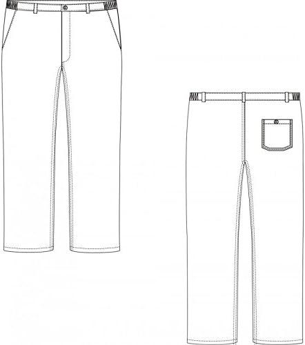 PBV Pantalon de Cuisine en Coton Pied de Poule Bleu Blanc Femme