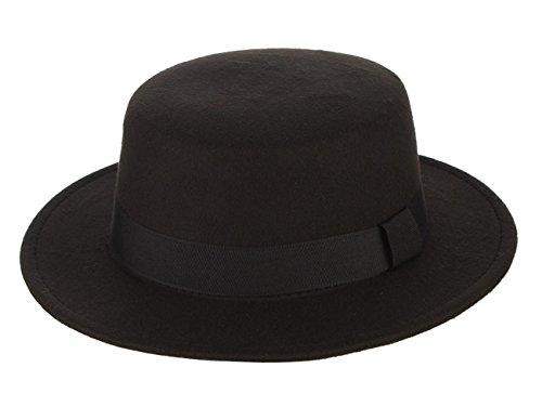 EOZY Damen Panama Hut Herbst Winter Party Flach Fedora Hut Elegant Jazz Hüte Schwarz