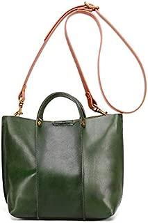TOOGOO Vegetable Tanned Leather Design Handmade Retro Trend Girl Literary Handbag Luxury Real Leather Small Tote Shoulder Bag for Women Green