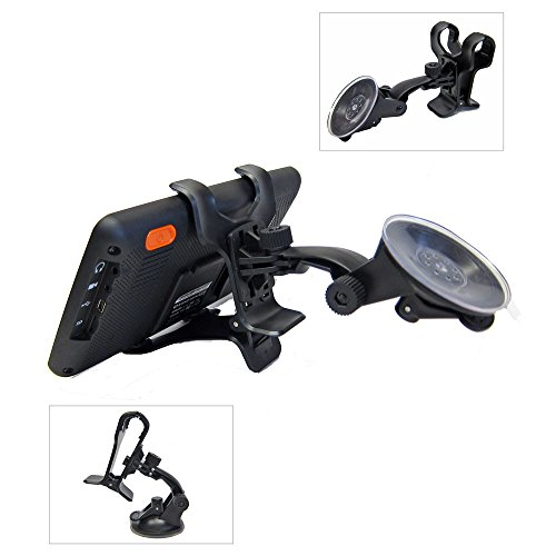 Ramtech Universal 360° Rotating Car Windshield Suction Mount Dual Clip Holder Bracket Stand For Magellan RoadMate 9365T-LMB 9400-LM 9412T-LM 9416T-LM 9465T-LMB GPS - WMDC