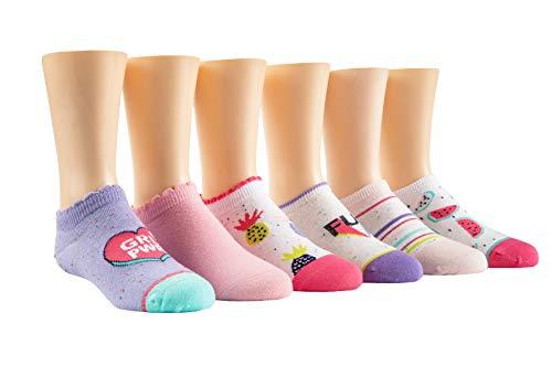Stride Rite Girls' Little 6 Pack No Show, Frances Fleck Purple, Sock: 7-8.5/Shoe: 10-13