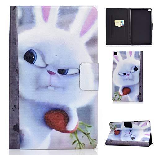 HülleFun Hülle für Samsung Galaxy Tab A7 10.4 2020 T500/T505/T507 Hase Niedlich PU Leder Tasche Cover Schutzhülle Schale Etui mit Standfunktion