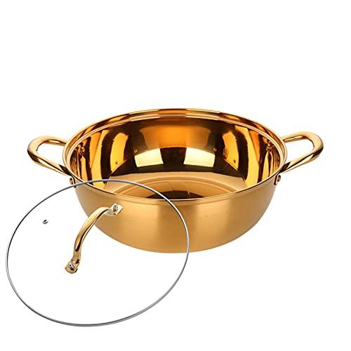 Pot Caliente China Hot Pot Steel de Acero Inoxidable Cocina Utensilios Utensilios de Cocina Sopa Compatible de una Sola Capa freidora (Color : A270 Gold)