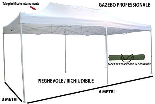 Savino Fiorenzo Gazebo Pieghevole richiudibile telescopico 3x6 m. Telo Bianco per Mercato Fiera manifestazioni sagra Campeggio Giardino Telo plastificato Impermeabile