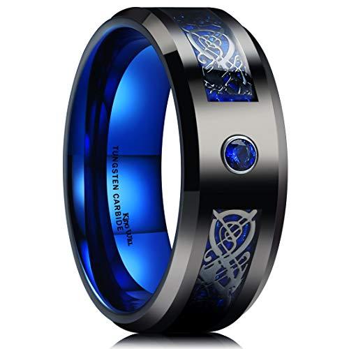 King Will Dragon 8mm Mens Celtic & Blue Cubic Zircon Inlay Black Tungsten Carbide Wedding Ring Comfort Fit 9