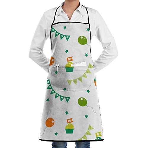 Delantal con Peto, Estampado de Fiesta irlandés, Ajustable, con Estampado de Cocina, Delantal de Chef con Bolsillo para Hombres/Mujeres, Cocina, horneado, Manualidades, jardinería y Barbacoa