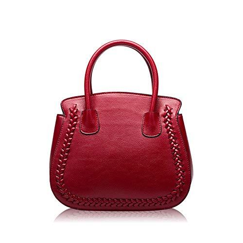 Bolso de Las señoras de Cuero, de Moda Bolsa de cáscara Retro Salvaje Casual, Nueva Bolsa de Cuero Hombro Lichi, Rojo, 19cm * 24cm * 14.5cm Bolsa de Honda