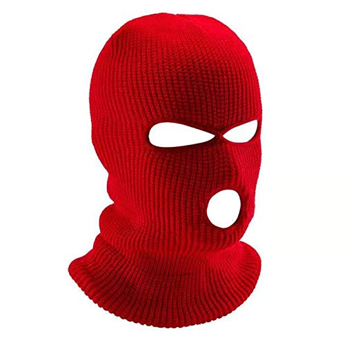 FLYMOON 3 Hole Winter Knitted Mask, Outdoor Sports Full Face Cover Ski Mask Warm Knit Balaclava for Adult Red
