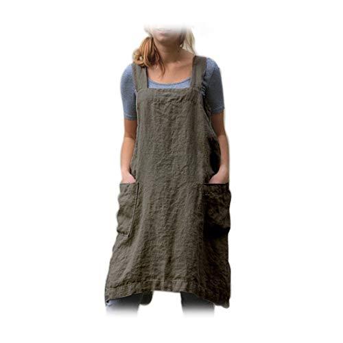 Surrui Women's Pinafore Square Apron Vintage Baking Cooking Dress Linen Gardening Workwear Cross Back Aprons Green Large