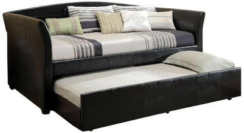 Hot Sale Furniture of America Elliss Leatherette Upholstered Daybed with Twin Trundle, Black