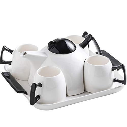 Kiki 6PCS Porcelana Tazas de café, té Tazas y de platillos Conjunto, Blanco Porcelana Juego de té, Tazas de café Conjunto de 4 Taza de té Conjunto Juego de té Regalo (Color : White)