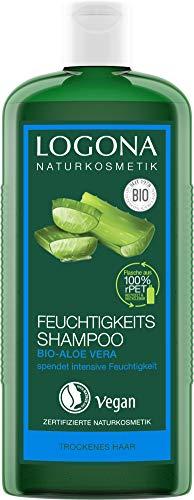 LOGONA Naturkosmetik Feuchtigkeits-Shampoo Bio-Aloe Vera, Feuchtigkeitsspendende Pflege für strapaziertes und trockenes Haar, Schützt natürlich vor dem Austrocknen, Mit Bio-Extrakten, Vegan, 250ml