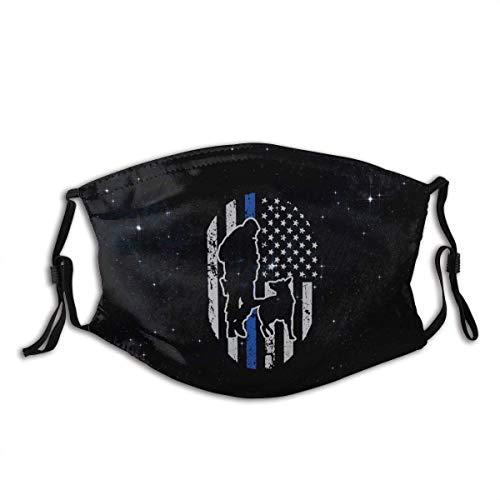 Mundschutz Gesichtsbedeckung Polizei K-9 Dünne Blaue Linie USA Flagge Außen, 5-lagige Aktivkohlefilter für Erwachsene Erwachsene Männer Frauen Bandana Gesichtsdekorationen