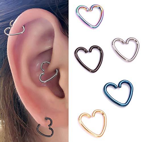 5 pares de pendientes en forma de corazón amor pequeños pendientes de aro cartílago de oreja anillo tragus joyería corporal para mujeres niñas