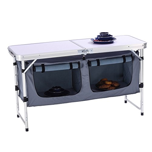 Camp Field Camping Table with Adjustable Legs for Beach, Backyards, Party and Picnic Table (B)