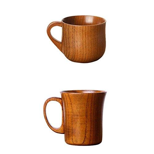MagiDeal Set de 2x Tasse en Bois Mug Lait Cafe The Bière Vaisselle Verrerie