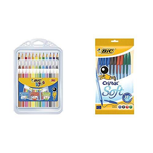 BIC Kids Set para Colorear - 12 rotuladores/12 Lápices para Colorear/12 Ceras...