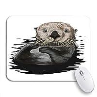 NINEHASA 可愛いマウスパッド 茶色の描画ラッコ絵動物水生キャラクター陽気な滑り止めゴムバッキングノートブック用マウスパッドマウスマット