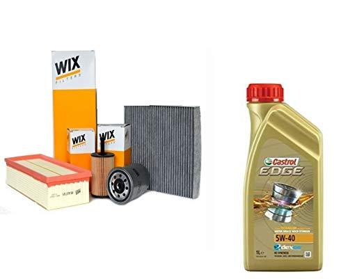 Kit tagliando olio CASTROL EDGE 5W40 5LT 4 FILTRI WIX (WL7296, WF8308 OPPURE WF8355, WA6781, V3683) PER MOTORI BXE