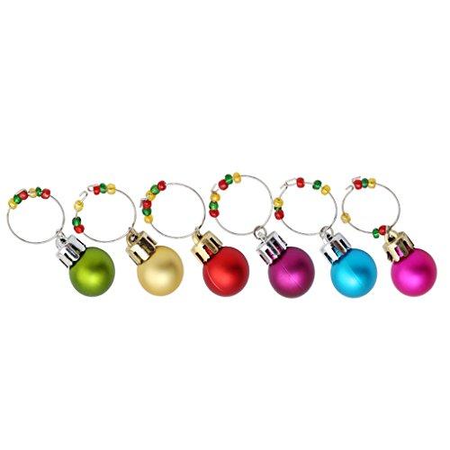 SEVENHOPE 6 Stück Weihnachten Glasmarker Weinglas Marker Weinglas Anhänger Charme Perlen Tischdekoration für Weihnachten Thanksgiving Hochzeit Party (D)