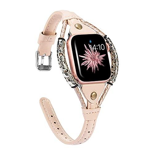 QINJIE Compatible con Apple Watch 2/3/4/5/6 SE Pulseras de Cuero Joyas Brazalete de Metal Multicapa Correa Retro Pulsera de Cuerda de Metal Pulsera Elegante,E,38MM